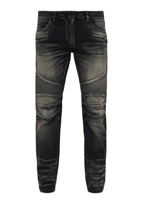 Balmain - Tapered Ribbed Inset Biker Jeans - Mens - Black