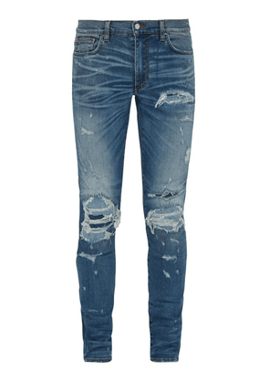 Amiri - Extreme Distress Slim Leg Jeans - Mens - Blue