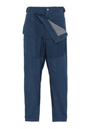 Jw Anderson - High Rise Folded Front Denim Jeans - Mens - Blue