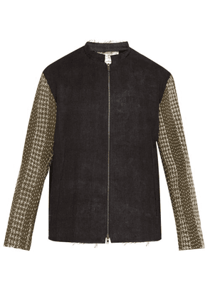 By Walid - Embroidered Panel Zip Through Linen Jacket - Mens - Black Green