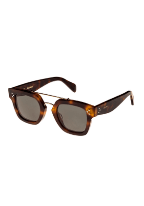 Square Monochromatic Acetate & Metal Sunglasses, Brown Pattern