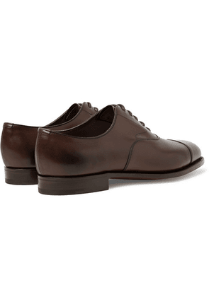 Edward Green - Chelsea Cap-toe Burnished-leather Oxford Shoes - Dark brown