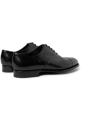 Edward Green - Chelsea Cap-toe Burnished-leather Oxford Shoes - Black