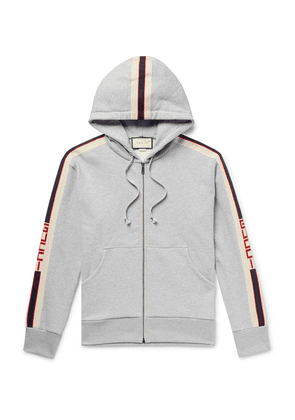Gucci - Logo Webbing-trimmed Loopback Cotton-jersey Zip-up Hoodie - Gray