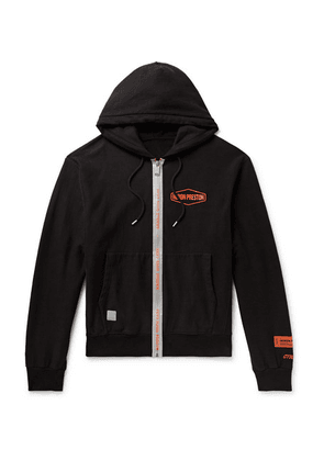 Heron Preston - Reflective-trimmed Logo-print Loopback Cotton-jersey Zip-up Hoodie - Black