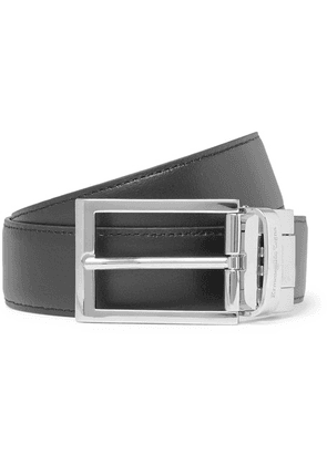 Ermenegildo Zegna - 3cm Black And Tan Reversible Leather Belt - Black