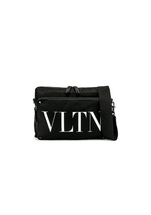 Valentino Logo Messenger Bag in Black