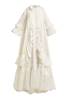 Gucci - Ruffle Trimmed Cotton Poplin Gown - Womens - Ivory