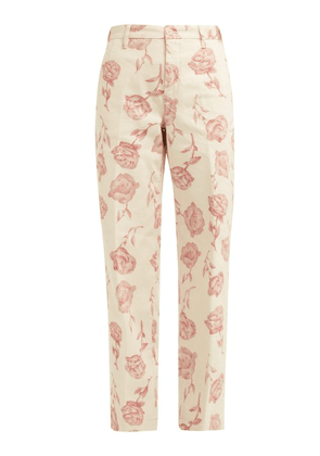 Aries - Rose Print Wide Leg Cotton Trousers - Womens - Ivory Multi