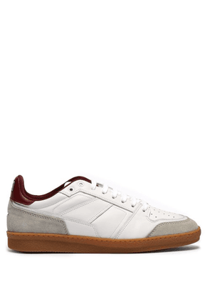Ami - Basket Leather And Suede Low Top Trainers - Mens - Red White
