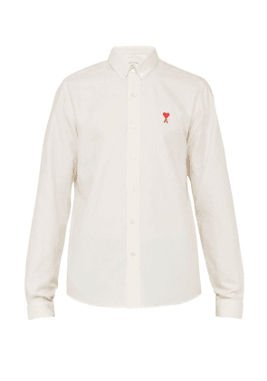 Ami - Logo Embroidered Striped Cotton Shirt - Mens - Light Yellow