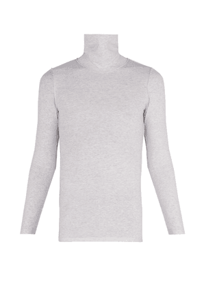 Vetements - Inside Out Stretch Cotton Roll Neck Top - Mens - Grey