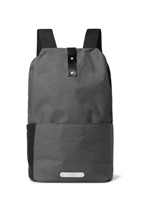 Brooks England - Dalston Leather-trimmed Canvas Backpack - Gray