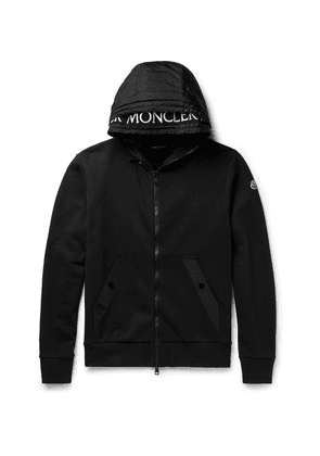 Moncler - Shell-trimmed Fleece-back Cotton-jersey Hoodie - Black