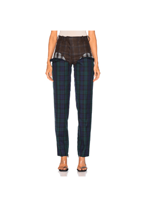 Y/Project Cut Out Trouser in Blue,Brown,Plaid