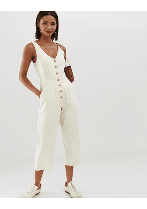 ASOS DESIGN button through jumpsuit in off white