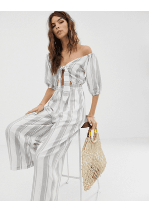 ASOS DESIGN tea jumpsuit with puff sleeve and tie detail in stripe