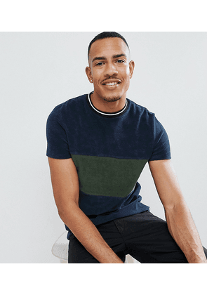 ASOS DESIGN Tall t-shirt in towelling with contrast body panel in navy