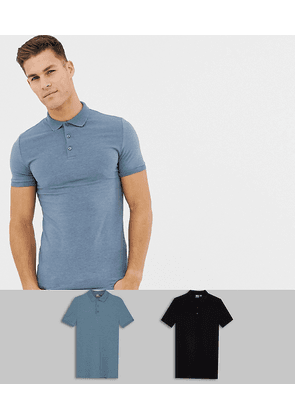 ASOS DESIGN muscle fit jersey polo 2 pack MULTIPACK SAVING