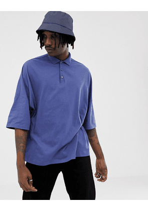 ASOS DESIGN extreme oversized jersey polo in blue