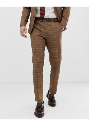 ASOS DESIGN skinny suit trousers in brown prince of wales check