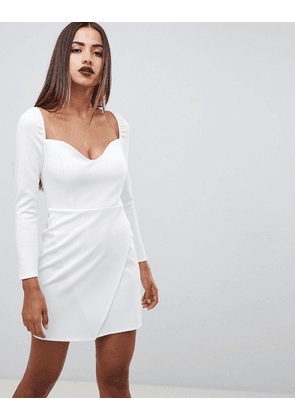 ASOS DESIGN long sleeve sweetheart wrap mini dress