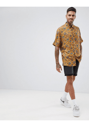 ASOS DESIGN regular mustard paisley printed shirt in viscose