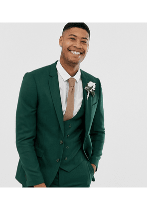 ASOS DESIGN Tall wedding skinny suit jacket in forest green micro texture