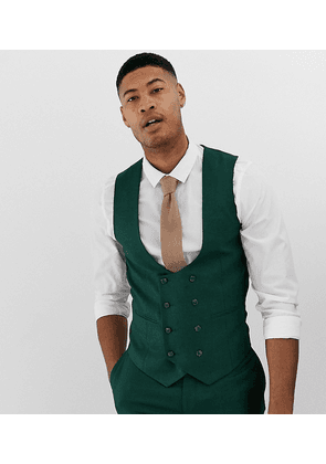 ASOS DESIGN Tall wedding skinny suit waistcoat in forest green micro texture