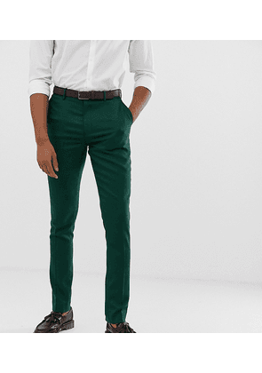 ASOS DESIGN Tall wedding skinny suit trousers in forest green micro texture
