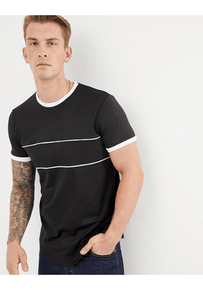 ASOS DESIGN longline t-shirt in retro track fabric with binding