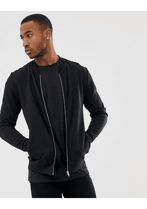 ASOS DESIGN jersey bomber jacket in black