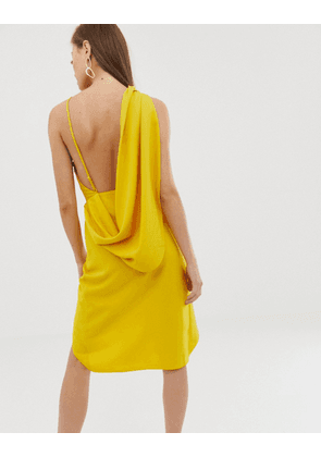 ASOS DESIGN midi dress with drape open back in crepe