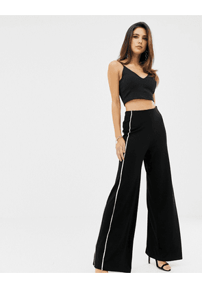 ASOS DESIGN contrast piped wide leg