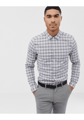 ASOS DESIGN stretch slim smart work check shirt in blue