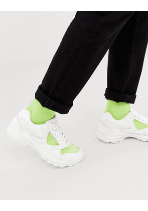 ASOS DESIGN trainers in white with transparent panels and chunky sole