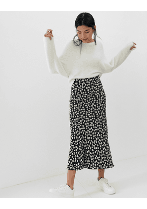 ASOS DESIGN daisy print bias cut maxi skirt