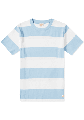 Armor-Lux 77344 Rugby Stripe Tee White & Light Blue