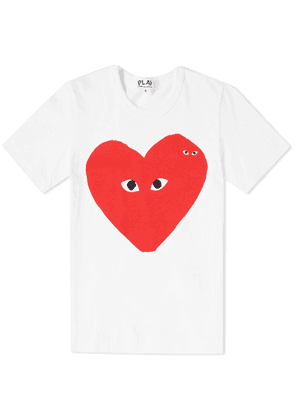 Comme des Garcons Play Women's Double Heart Print Tee White & Red