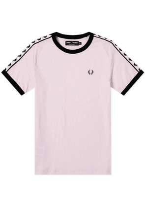 Fred Perry Women's Taped Retro Ringer Tee Pink