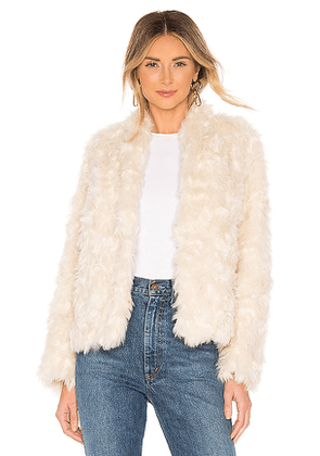 Vince Plush Faux Fur Jacket in Cream. Size M.