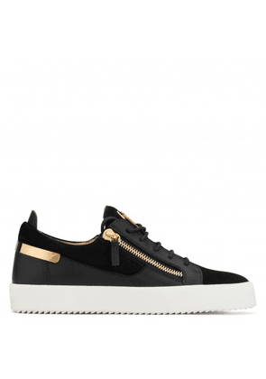 Giuseppe Zanotti - Suede low-top sneaker with leather insert FRANKIE