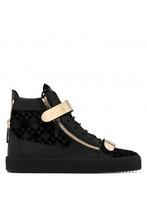 Giuseppe Zanotti - Velvet and leather high-top sneaker with plate COBY