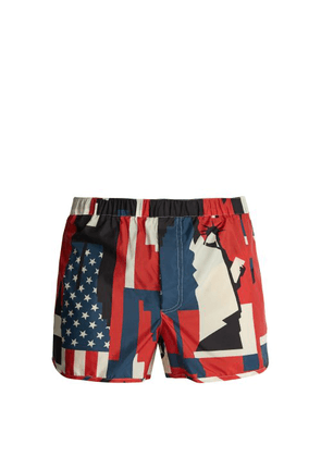 Valentino - New York Print Swim Shorts - Mens - Blue