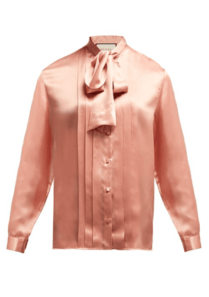 Gucci - Pleated Silk Satin Blouse - Womens - Light Pink