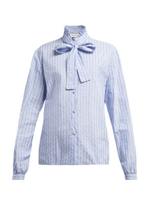 Gucci - Pussy Bow Striped Logo Jacquard Cotton Shirt - Womens - Blue Print