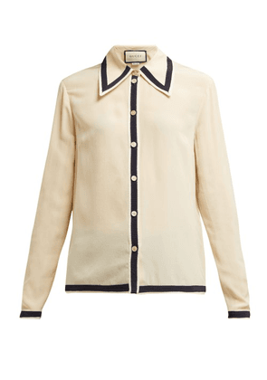 Gucci - Grosgrain Trimmed Silk Crepe De Chine Blouse - Womens - Ivory Multi
