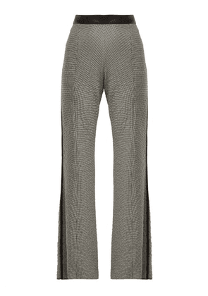 Loewe - Houndstooth Leather Trim Trousers - Womens - Black White