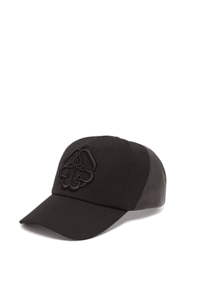 Alexander Mcqueen - Logo Embroidered Leather Panelled Cotton Cap - Mens - Black