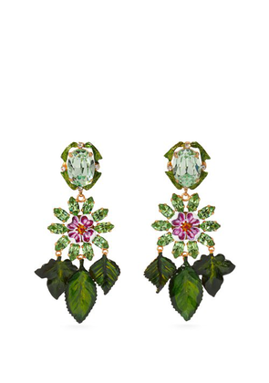 Dolce & Gabbana - Floral Crystal Embellished Drop Earrings - Womens - Green